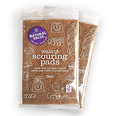 (2 Pks of 2 Ct) Natural Value Walnut Scouring Pads - eco Friendly pad for Scrubbing & Cleaning Dishes, Pots & Pans Made w/Shells of Walnuts