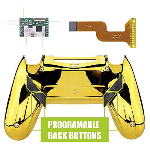 eXtremeRate Dawn Programmierbares Remap Kit für PS4 Controller mit rückseiter Hülle Case Gehäuse&Upgrade-Board&4 Rückseiten Tasten-für Playstation 4 Controller JDM 040/050/055(Chrome Gold)