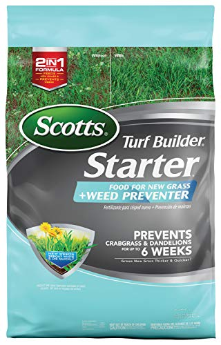 Scotts Turf Builder Starter Food for New Grass Plus Weed Preventer - 2-in-1 Formula - Fertilizes New...