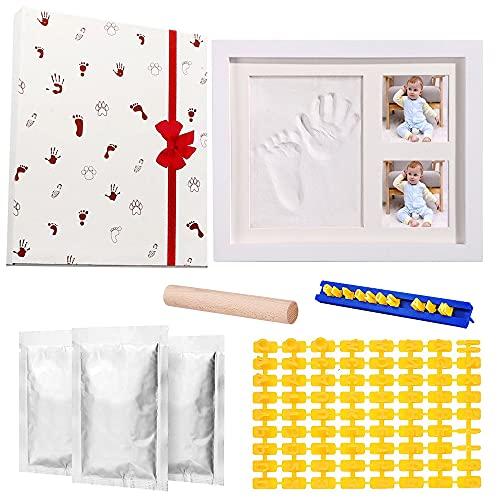 Komake Marco Huellas Bebé, Kit de Marco Fotos Madera Marco de Huellas de Bebes Kit de Huellas de Mano y Pie de Bebé para Bebé Recién Nacido para Recién Nacidos para Lista de Nacimiento Niños y Niñas