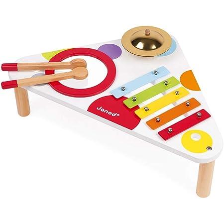 Janod - Table Musicale en Bois Confetti - Instrument de Musique Enfant - Jouet d'Imitation et d'Éveil Musical - Dès 1 An, J07634