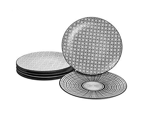 Ard'time - Komae Schwarz-Weiß-Dessertteller Durchmesser 21 cm 6er-Set