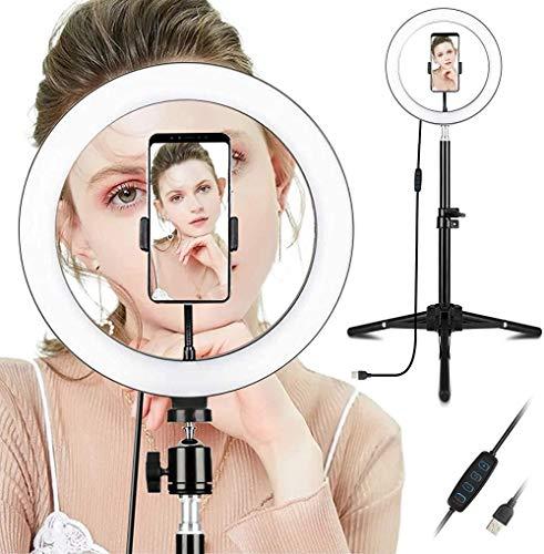 LED-Ringlicht mit Stativtelefonhalter und dimmbarem Desktop-Make-up-Ringlicht, sehr gut geeignet für Live-Sendungen und Videofotografie