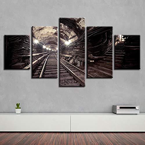 FKHLJ Rahmen Hd Gedruckt Wohnzimmer Bilder 5 Panel Eisenbahn Gemälde Wandkunst Modular Poster Home Decoration Leinwand