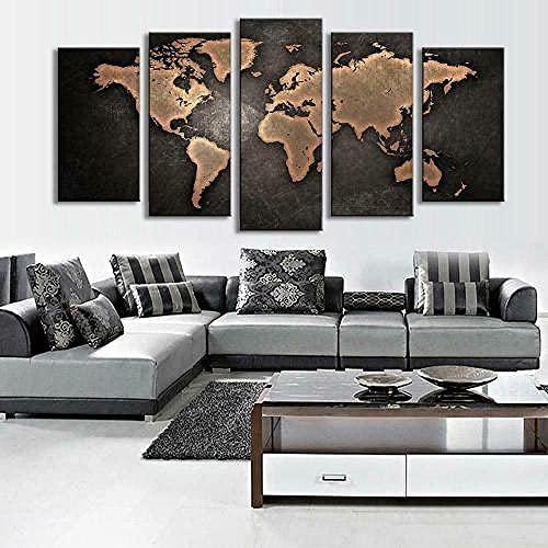 Lienzo 5 Piezas Retro World Map Canvas Wall Lienzos Decorativos Cuadros Grandes Baratos Cuadros Decoracion Cuadros para Dormitorios Modernos Cuadros Decoracion Regalos Personalizados