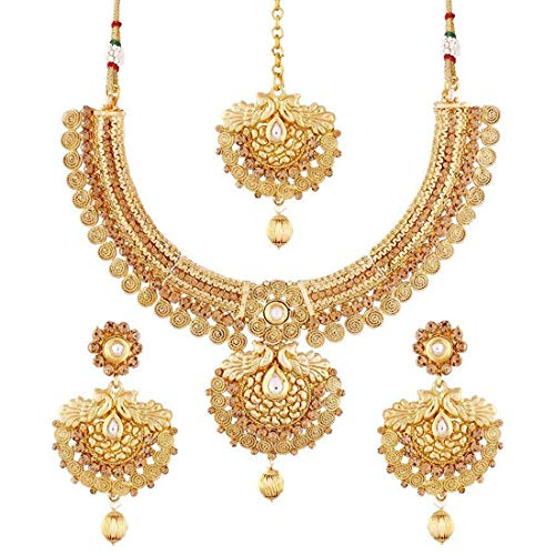 Aheli Ethnic Peacock Design Crafted Gold Tone Necklace with Maang Tikka Set Indian Wedding Fashion Jewelry for Women