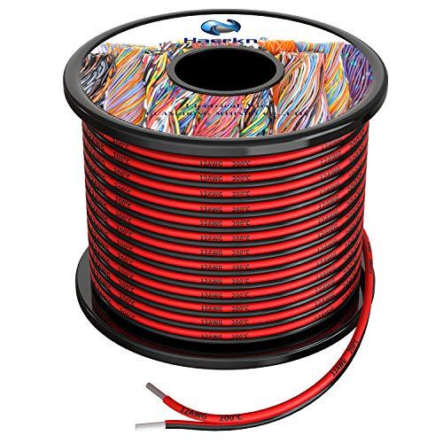 2x3.3 mm² Cable Alambres eléctrico de silicona de 2x5Metros 12awg Cable de cobre estañado trenzado sin oxígeno Resistencia a altas temperaturas 2 Conductor