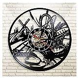 Reloj de Pared Vintage,Reloj Pared de Disco de Vinilo Silencioso Decoración para Habitación Dormitorio Cocina Oficina Bar 30CM。 Cesta de Comida de Molino de Viento