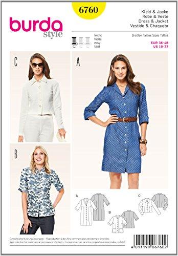 Burda b6760Schutzpatron von Kleid und Jacke