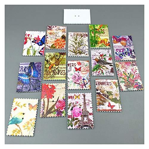 Nähknöpfe DIY 40 stücke Stempel Holz Tasten Blumen Schmetterlinge Vogelturm Nähen Scrapbooking 40mm Persönlichkeitstaste