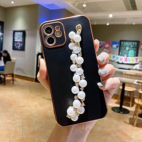 Pulsera de Taladro de Perlas electrochapadas para iPhone 12 11 / X Funda de Silicona para teléfono móvil con Borde Recto de Color Caramelo con Orificio Fino, Negro, para Iphone11