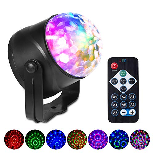 AnCoSoo LED Discokugel mit Fernbedienung, Musikgesteuert Disco Partyleuchte Discolicht, 3W LED Discolampe RGB Lichteffekt Bühnenbeleuchtung für Kinder Geburtstag Karaoke KTV Club Weihnach