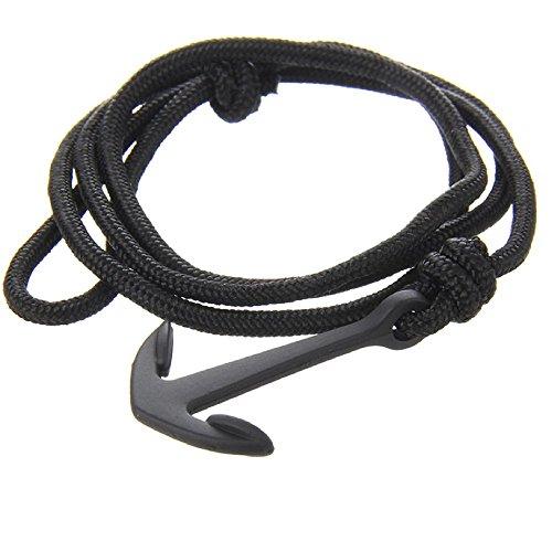 Lion&Son Neptun Armband - Anker Bracelet Jewelry Maritim geflochten Paracord Unisex verstallbar Wickelarmband Anchor, Farbe:Black