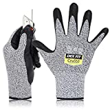DEX FIT Level 5 Cut Resistant Gloves Cru553, 3D Comfort Stretch Fit, Power Grip Foam Nitrile, Smart Touch, Durable Thin & Lightweight, Machine Washable, Grey Large 1 Pair
