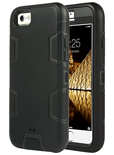 ULAK iPhone 6S Caso Funda Carcasa 3en1 Prueba de Golpes Duro híbrido Combinado rígido de la PC + Cubierta Suave de Silicona Protectora para el Apple iPhone 6 / iPhone 6S 4,7 Pulgadas (Negro)