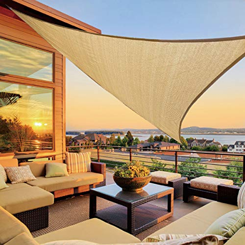 LOVE STORY 16'5'' x 16'5''x 22'11'' Right Triangle Sand Sun Shade Sail Canopy UV Block Awning for Outdoor Patio Garden Backyard
