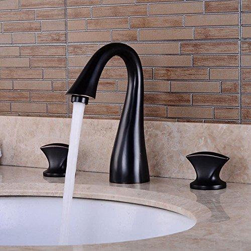 Modern eenvoudige messing warm en koud wastafel kraan badkamer wastafel kraan zwart brons drie gaten bekken onder de kast dubbel open warm en koud water kraan badkamer wastafel drie sets van kraan