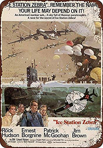 DKISEE Unique Wall Decor 1968 Ice Station Zebra Rock Hudson - Vintage Look Reproduction Aluminum Metal Sign 12x18 inch