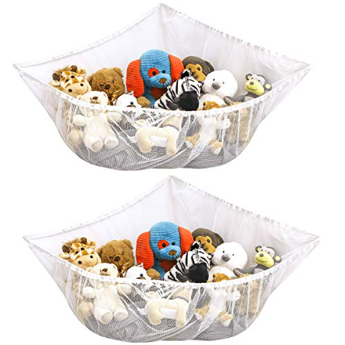 S&T INC. Jumbo Mesh Toy Net for kids toys and stuffed animals -Expands Up to 55 Inches, White, 2 Pack