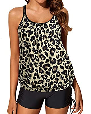 Yonique Womens Blouson Leopard Tankini Swimsuits Two Piece Strappy Bathing Suit Tops with Shorts Criss Cross Swimwear M
