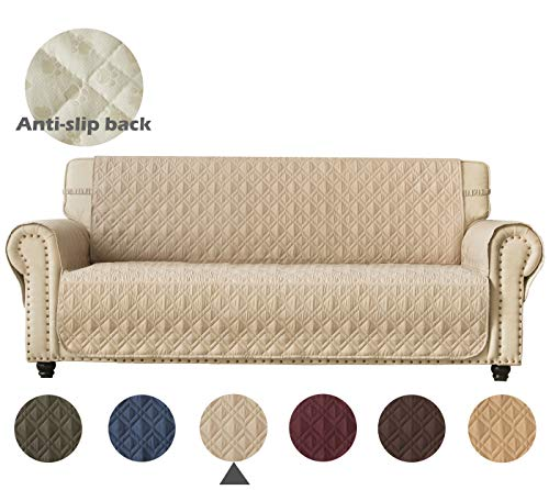 Ameritex Couch Sofa Slipcover 100% Waterproof Nonslip Quilted Furniture Protector Slipcover for Dogs, Children, Pets Sofa Slipcover Machine Washable (Beige, 78')