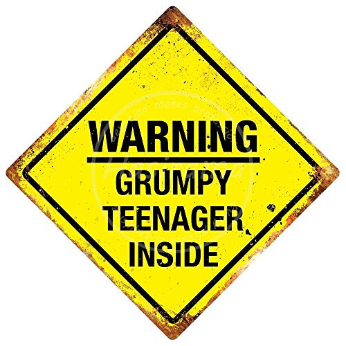 Warning Grumpy Teenager Inside Vintage Tin Sign Art Iron Painting Rusty Poster Decoration Aluminum plaque For Hotel Cafe School Office Garage
