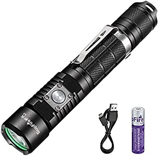 Rechargeable Flashlight,Supfire Defense Tactical Torch Ultra Bright Cree Led 1100 Lumens Waterproof Flashlight with 18650 Battery Perfect for Walking Dog,Camping,Emergency