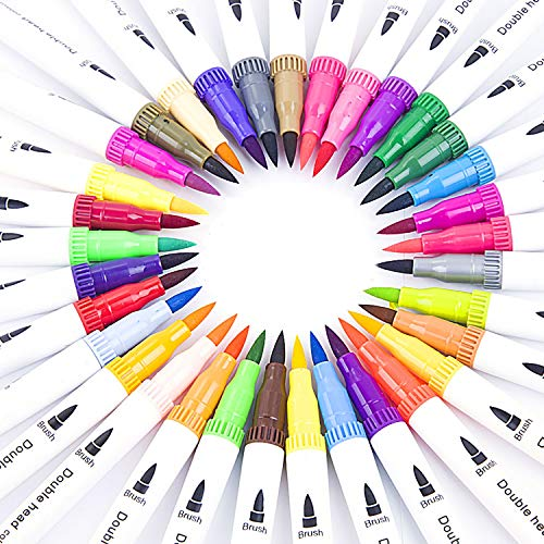 24pcs Dual Markers Brush Pen,(1-2mm)Brush Tips & 0.4mm Colored Fine Point Pen Set, Art Markers Set for Lettering Writing Coloring Drawing, Planner Art Supplier,24 Colors Coloring Marker Set