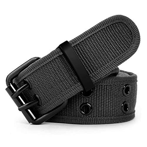 """Leahtario Eshow ceinture tissu unisexe ceintures etoffe hommes ceinture femmes de longueur 112 cm 44.09""""pouces ceinture en boucle de fixation de aiguille,Gris"""
