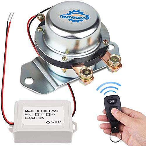 WATERWICH 12V Car Wireless Remote Control Battery Disconnect Switch Cut/Shut Off Marine Battery Switch 180Amp Electromagnetic Valve Terminal System for Van RV Small Truck Agricultural Vehicle(12V)
