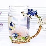 Copa de té de esmalte de color azul creativo de la taza de café de la taza de café de la mariposa de la flor pintada de la flor de las tazas de agua de la flor del vidrio transparente con el conjunto