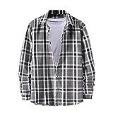 Sunnyuk Camisa Invierno Hombre Estilo Retro a Cuadros de Solapa, Camisa Manga Larga Hombre Diseño único Adecuado para Otoño e Invierno Diseño Diario