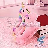 B-Creative Zapatillas de unicornio rosa con luz LED, encantadoras y suaves de felpa mullidas para interiores de invierno (sin LED, 7 UK)