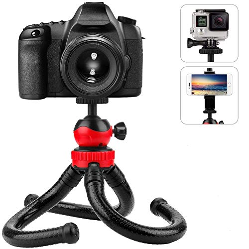 Marklif Flexible Gorillapod Tripod15 inch with 360° Rotating Ball Head Tripod for All DSLR Cameras(Max Load 1.5 kgs) & Mobile Phones + Free Heavy Duty Mobile Holder(15 Inch, Black and Red)