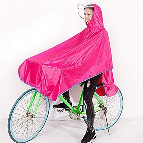 Regenjas Fiets Regenjas Mountainbike Single Man En Vrouwelijke Volwassen Verhoging Poncho Helm Regenkleding Winddicht Waterdicht Regen Kaap Jas Regenkleding (Kleur : Roze, Maat : 3XL)