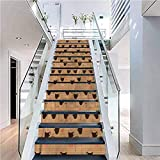 Staircase Decals Removable Waterproof Mural Wallpaper, Coffee Coffee Cups Espresso, Indoor and Outdoor Stair Treads to Prevent Slipping, W39.3 x H7.08 Inch x13PCS