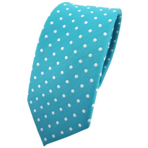 TigerTie - corbata estrecha - turquesa azul turquesa plata lunares