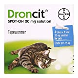 Bayer Droncit Tapewormer 20mg Spot-on solution for Cats from 2.5 to 5 kgs, Pack of 4 Pipettes