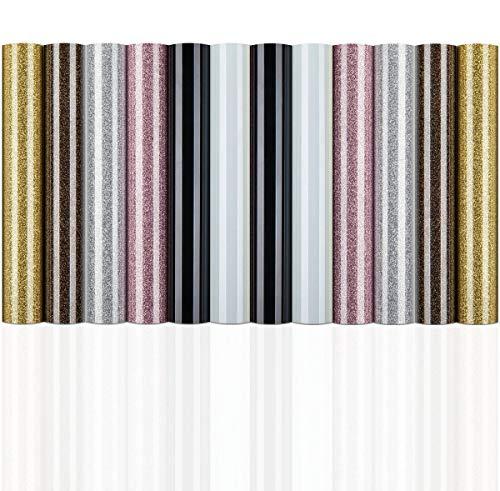 Heat Transfer Vinyl for Cricut 12pcs Rose Gold Silver Glitter HTV Iron On Vinyl...