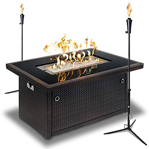 Outland Living Series 403 Brown 44-Inch Outdoor Propane Gas Fire Pit Table, Black Tempered Tabletop w/Arctic Ice Glass Rocks and Resin Wicker Panels (Espresso Brown/2-Pack 1 LB Tonga Torch)