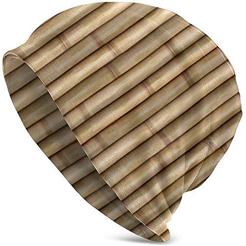 Strickmütze Für Erwachsene Skull Hat Beanie Strickmütze Warm Stretchy Baggy Für Unisex Winter Bambus Holzzaun Hintergrund Coole Strickmützen Für Männer Frauen