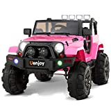 Uenjoy Ride on Car 12V Battery Power Children's Electric Cars Motorized Cars for Kids with Wheels Suspension,Remote Control, 3 Speeds, Head Lights,Music,Bluetooth Remote Controller,Pink