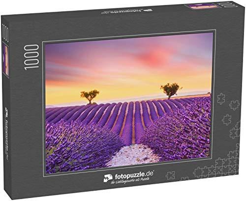 fotopuzzle.de Puzzle 1000 Teile Wunderschöner Sonnenuntergang Lavendelfeld Sommerlandschaft bei Valensole.Provence,Frankreich