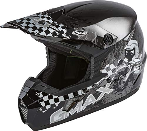 GMAX MX-46Y Anim8, DOT Approved Youth Full-Face Helmet for Off-Road Riding and Racing (Dark Silver/Black)