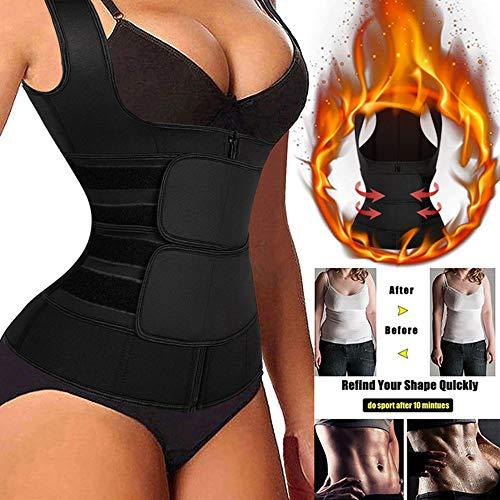 WFLRF Neopren Saunaanzüge für Damen, Taillenformer Fitness Taillenmieder für Gewicht Loss, Figurformender Damen-Body Gewichtsreduzierung Verstellbarer Schwitzgürtel Zum Abnehmen Frauen,XL