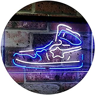 Sneaker Shoe Sport Running Store Shop Display Dual Color LED Neon Sign White & Blue 400 x 300mm st6s43-i3071-wb