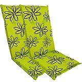 DILUMA Hochlehner Auflage Naxos für Gartenstühle 118x49 cm 2er Set Blume Grün - 6 cm Starke Stuhlauflage mit Komfortschaumkern und Bezug aus 100% Baumwolle - Made in EU mit ÖkoTex100