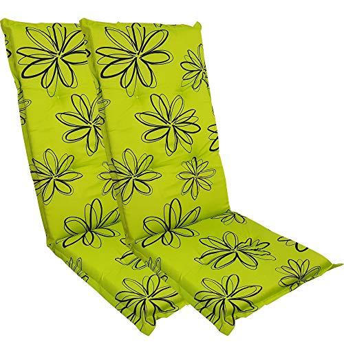 DILUMA Hochlehner Auflage Naxos für Gartenstühle 118x49 cm 2er Set Blume Grün - 6 cm Starke Stuhlauflage mit Komfortschaumkern und Bezug aus Baumwoll-Mischgewebe - Made in EU mit ÖkoTex100