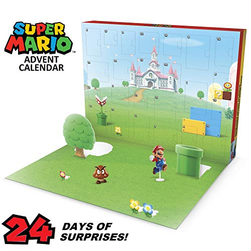SUPER MARIO Nintendo Advent Calendar Christmas Holiday Calendar with 17 Articulated 2.5 Action Figures & 7 Accessories, 24 Day Surprise Countdown with Pop-Up Environment [Amazon Exclusive]