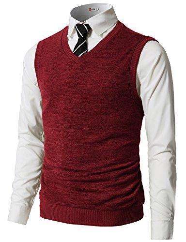 H2H Mens Slim Fit Casual V-Neck Knit Vest RED US M/Asia L (CMOV042)